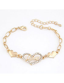 Affinity Gold Color Hollow Out Heart Alloy Korean Fashion Bracelet