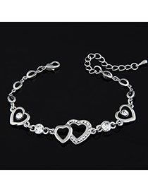 Fantasy Silver Color Heart To Heart Alloy Korean Fashion Bracelet