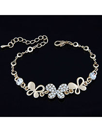 Korean exquisite fashion butterfly decorated with CZ diamond bracelet (Gold Color)