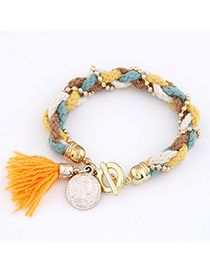 Everlas Multicolour Knitting Wool Weave Alloy Korean Fashion Bracelet