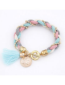 Vera Multicolour Knitting Wool Weave Alloy Korean Fashion Bracelet