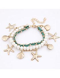 Reflective Green Pentagram Pendant Alloy Korean Fashion Bracelet