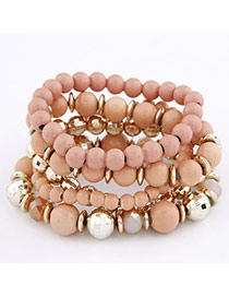 Pendant Pink Bohemian Style Multilayer Bead Korean Fashion Bracelet