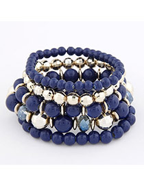 Peterbilt Dark Blue Bohemian Style Multilayer Bead Korean Fashion Bracelet