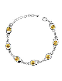 Light Golden Yellow Yellow Bracelet Alloy Crystal Bracelets