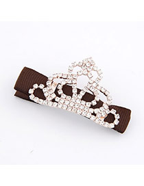 Roller Brown Fashion Crown Decorated With Cz Diamond Alloy Hair clip hair claw