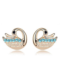 Business Sea Blue Blue Earrings Alloy Crystal Earrings