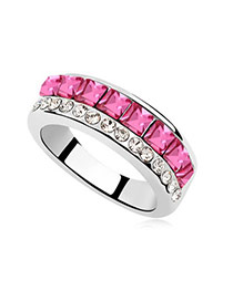 Electric Plum Red Rings Alloy Crystal Rings