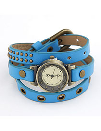 Korean vintage classic fashion pu leather design watch