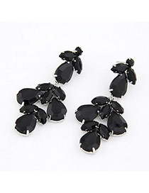 Little Black Decorated With Bead Alloy Stud Earrings