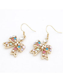 Handcrafte Gold Color Sweet Bow Tie Design Alloy Korean Earrings
