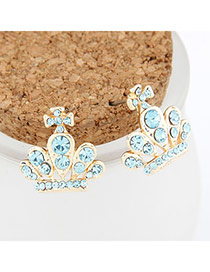 Antique light Blue Crown Decorated With Cz Diamond Alloy Stud Earrings