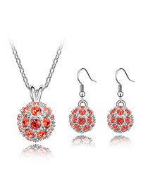 Magic Padparadscha Set-Delicately Prettyr Alloy Crystal Sets