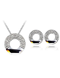 Street White Set-Concentric Circles Alloy Crystal Sets