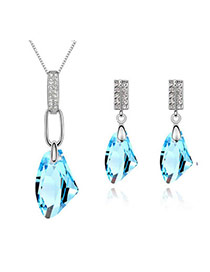Homemade Sea Blue Set-Bright Moon Breeze Alloy Crystal Sets