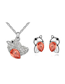 Chiropract Padparadscha Set-Lovebirds Alloy Crystal Sets