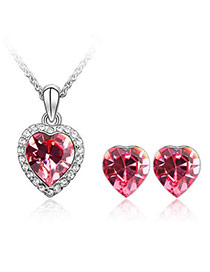 Gored Plum Red Set-Heart Alloy Crystal Sets