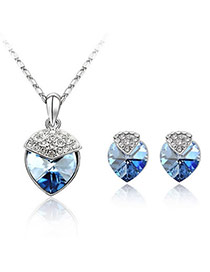 Pewter Blue Set-Strawberry Alloy Crystal Sets