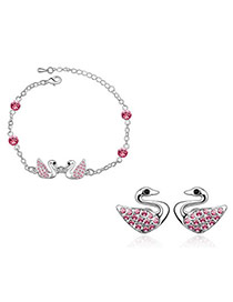Specialty Plum Red Set-Swan Alloy Crystal Sets