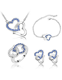 Real Blue Set-Heart To Heart Alloy Crystal Sets