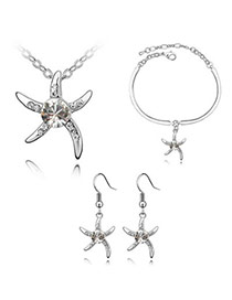 Beautiful White Set-Star Fish Alloy Crystal Sets