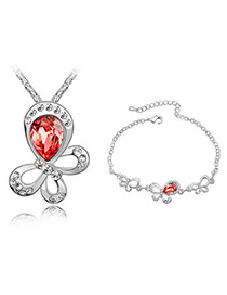 Homecoming Padparadscha Set-Dancing Butterflies Alloy Crystal Sets