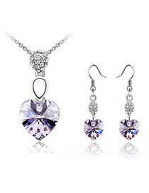 Pendant Violet Set-Heartbeat Alloy Crystal Sets