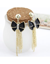 2013 black Gold Color Butterfly Tassels Design Alloy Stud Earrings