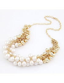 Lovable White Imitate Pearl Pearl Korean Necklaces
