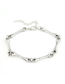 Victorian Antique Silver Bones Design Alloy Korean Fashion Bracelet