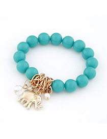 Indian Green Elephant Pendant Alloy Korean Fashion Bracelet