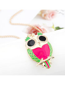 Stainless Plum Red Sweet Owl Pendant Alloy Bib Necklaces