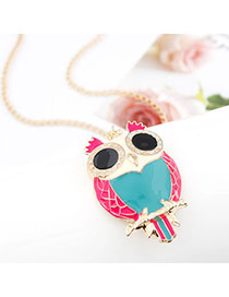 Wonderful Blue Sweet Owl Pendant Alloy Bib Necklaces