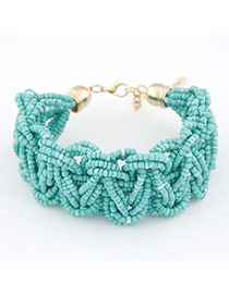 Postal Blue Weave Design Alloy Korean Fashion Bracelet