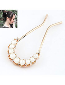 Fashion White Wild U Shape Decorated Pearl Hair clip hair claw
