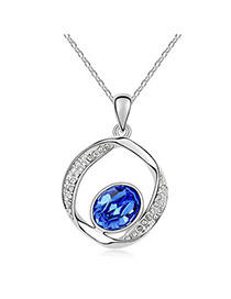 Liquid Blue Promise Design Crystal Crystal Necklaces