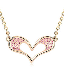 Tummy Light Plum Red Champagne Champagne True Heart  Design Crystal Crystal Necklaces