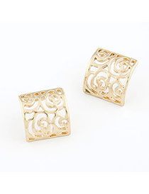 Elastic Gold Color Hollow Out Square Shape