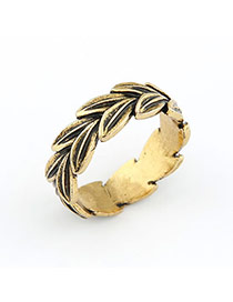 Nameplate Gold Color Leaf Alloy Korean Rings