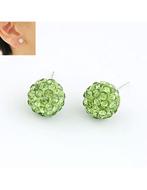 Deathly Green Ball Shape Cz Diamond Stud Earrings