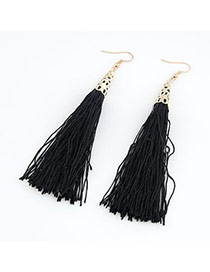 Renaissanc Black Elegant Tassels Design Alloy Korean Earrings