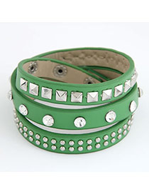 Native Green Multilayer Mulit Size Rivet Pu Korean Fashion Bracelet