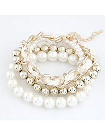 Beautiful White Pearl Woven Multilayer Design