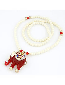 Natural Claret-Red Cute Elephant Pendant Alloy Beaded Necklaces