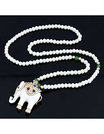 Huge White Cute Elephant Pendant Alloy Beaded Necklaces