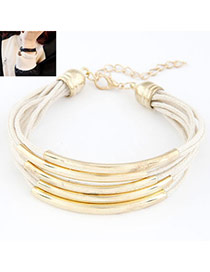 Famale White Elbow Multilayer Copper Leather Korean Fashion Bracelet
