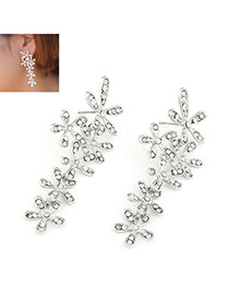 Famale Silver Diamond Studded Five Leaf Alloy Rhinestone Korean Earrings