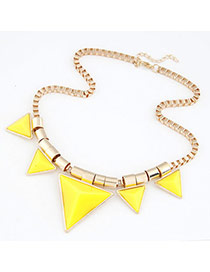 Famale Yellow Triangle Alloy Resin Bib Necklaces