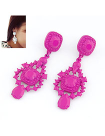 Wide Plum Red Fluorescence Color Design Alloy Stud Earrings