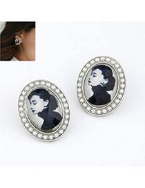 white simple beautiful woman pattern alloy Stud Earrings